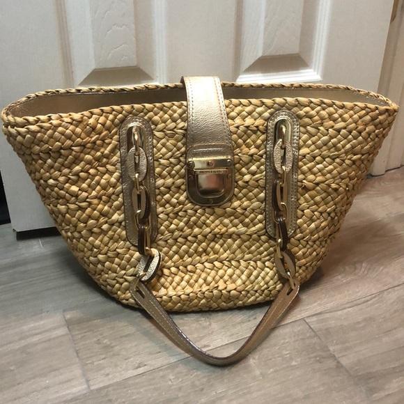 3fc5a34256a9a0 Michael Kors Bags | Sale Michael Santorini Large Straw Tote Gold ...